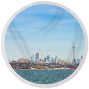 Toronto Skylines At The Waterfront Round Beach Towel