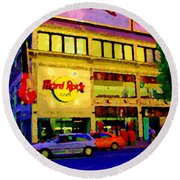 Toronto Street Scene Night Scapes Hard Rock Cafe Downtown Drive By City Lights Canadian Art Cspandau Round Beach Towel