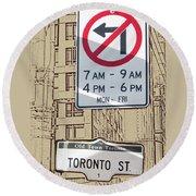 Toronto Street Sign Round Beach Towel