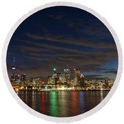Toronto's Dazzling Skyline  Round Beach Towel