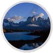 Torres Del Paine, Patagonia, Chile Round Beach Towel
