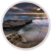 Torrey Pines Flat Rock Round Beach Towel
