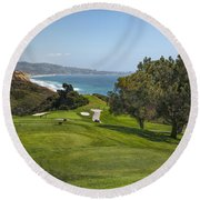 Torrey Pines Golf Course North 6th Hole Round Beach Towel by Adam Romanowicz