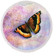 Tortoiseshell Butterfly Round Beach Towel