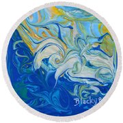 Tossed In The Waves Round Beach Towel