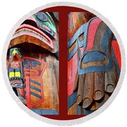 Totem 2 Round Beach Towel by Theresa Tahara