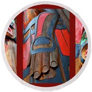 Totem 3 Round Beach Towel by Theresa Tahara