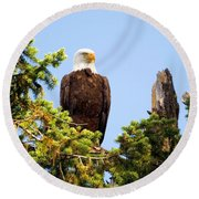 Totem Eagle Round Beach Towel