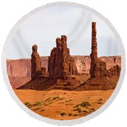 Totem Pole Buttes Round Beach Towel
