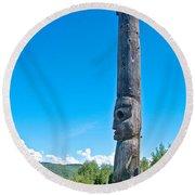 Totem Pole In Gitwangak-bc Round Beach Towel