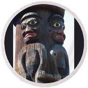 Totem Twins Round Beach Towel