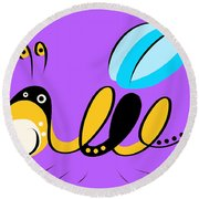 Thoughts And Colors Series Bee Round Beach Towel