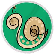 Thoughts And Colors Series Snail Round Beach Towel