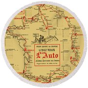 Tour De France 1914 Round Beach Towel