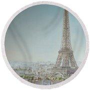 Tour Eiffel 1 Round Beach Towel