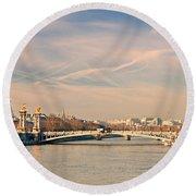 Tour Eiffel And Alexandre IIi Bridge - Paris  Round Beach Towel
