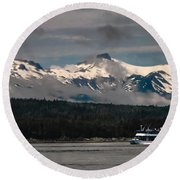 Touring Alaska Round Beach Towel
