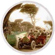 Royal Tourist Touring Car On The 17 Mile Drive Pebble Beach California Circa 1910 Round Beach Towel