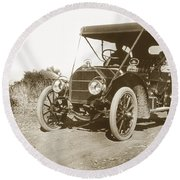 Touring Car On The Road California 1906 Round Beach Towel