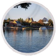Touring On The World Showcase Lagoon Walt Disney World Round Beach Towel