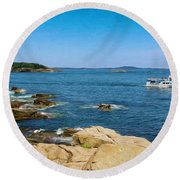Touring The Rocky Shore Round Beach Towel