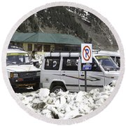 Tourist Vehicles Parked At The No Parking Sign In Sonmarg Round Beach Towel