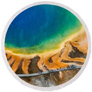 Tourists At Grand Prismatic Round Beach Towel