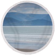 Tourists On The Beach, Inch Strand Round Beach Towel