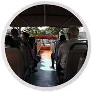 Tourists On The Sight-seeing Bus Run By The Hippo Company In Singapore Round Beach Towel