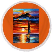 Towards The Sun - Palette Knife Oil Painting On Canvas By Leonid Afremov Round Beach Towel