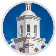 Tower At Mission San Xavier Del Bac Round Beach Towel