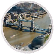 Tower Bridge And London City Hall Aerial View Round Beach Towel