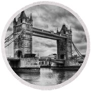 Tower Bridge In London Uk Black And White Round Beach Towel