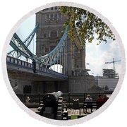 Tower Bridge In The City Of London Round Beach Towel