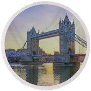 Tower Bridge Sunrise Round Beach Towel