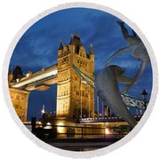 Tower Bridge The Dolphin And The Girl Round Beach Towel