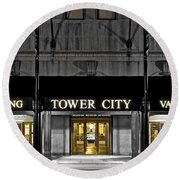 Tower City In Cleveland Ohio Round Beach Towel