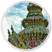 Tower Closeup Of Buddhist Temple At Grand Palace Of Thailand  Round Beach Towel