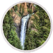 Tower Falls Yellowstone National Park Round Beach Towel