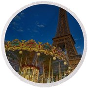 Carousel Tower Round Beach Towel