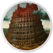 Tower Of Bable Round Beach Towel