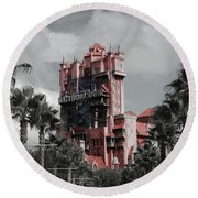 Tower Of Terror  In Color Round Beach Towel
