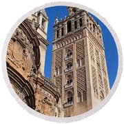 Tower Of The Seville Cathedral Round Beach Towel