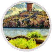 Tower On The Bluff Round Beach Towel