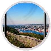 Tower Over The City Triptych Round Beach Towel