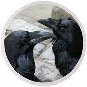 Tower Ravens Round Beach Towel
