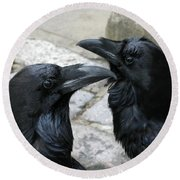 Tower Ravens Round Beach Towel