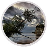 Tower Rock In The Mississippi River Round Beach Towel