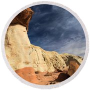 Towering Above The Landscape Round Beach Towel