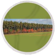 Towering Evergreens Round Beach Towel